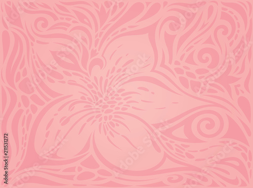 Floral Pink Vector Wallpaper Trendy Fashion Design Wedding Decorative Background