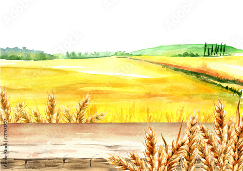 Fotobehang Zwavel geel Wheat field with blank board. Summer rural landscape. Watercolor hand drawn illustration, background for your design