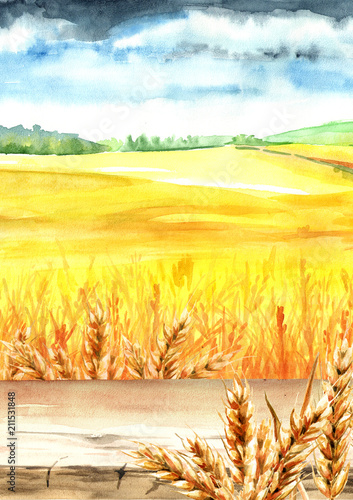 Deurstickers Zwavel geel Wheat field with blank board. Summer rural landscape. Watercolor hand drawn vertical illustration, background for your design