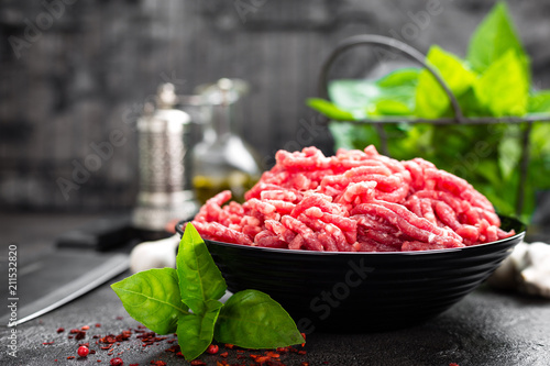 Fotografija Raw ground beef meat. Fresh minced meat