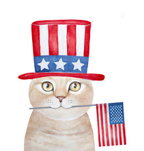 Cute Smiling Ginger Tabby Cat Character Dressed In American Hat And Carrying Flag Of The United States. Patriotic Illustration. Hand Painted Water Color Graphic Drawing On White Background, Isolated.