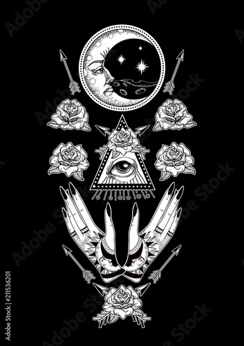 Foto auf AluDibond Boho-Stil Symmetry composition with ancient astronomical illustration of the sun, the moon, the stars, the rose, the eye in the graphic style of the antique. Magical vector illustration.