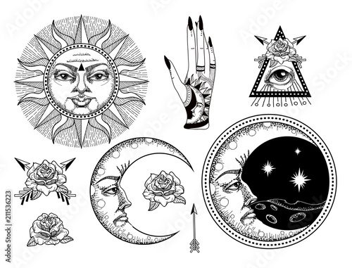 Fotomural An ancient astronomical illustration of the sun, the moon, the stars, the rose