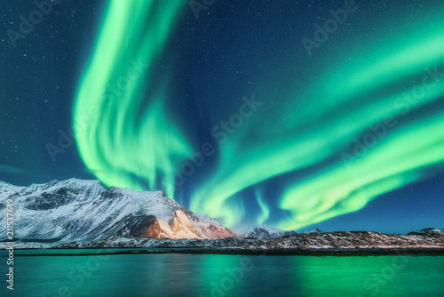 Poster Aurore polaire Green northern lights in Lofoten islands, Norway. Aurora borealis. Starry sky with polar lights. Night winter landscape with aurora, sea with sky reflection and snowy mountains. Nature. Travel