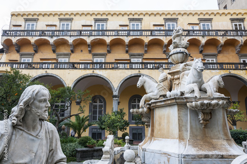 Deurstickers Oude gebouw NAPLES , ITALY ON 10/16/2016 The cloister of San Gregorio Armeno, Naples