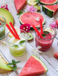 Fruit pattern. Colorful fresh fruits and smoothies on white table. Flat lay, top view