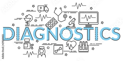 Fotografía  Flat colorful design concept for Diagnostics