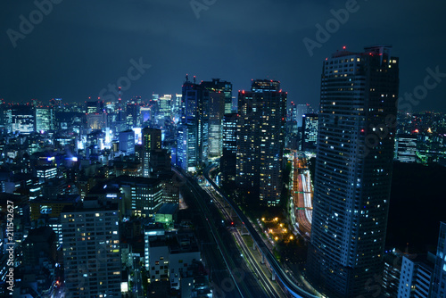 A night view of Shimbashi and Ginza in Tokyo, Japan