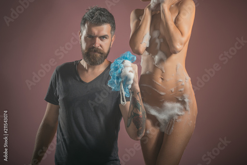 Staande foto Akt hygiene concept. hygiene of couple in love with bearded man and girl.