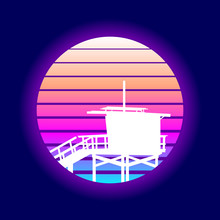 Recto Venice Beach Sunset. EPS10 Vector With Transparency