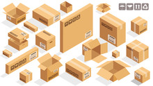 Isometric Vector Cardboard Brown Boxes