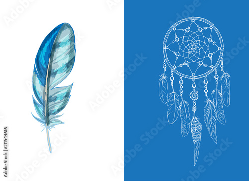 Foto auf AluDibond Boho-Stil Set of design and decor elements. Detailed colored feather close up isolated on white background. Hand drawn ornate ethnic dream catcher on a blue background. Vector illustration.