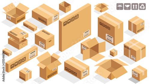 Fotografía Isometric vector cardboard brown boxes