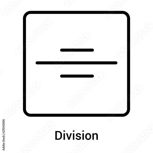 Photo  Division icon vector sign and symbol isolated on white background, Division logo
