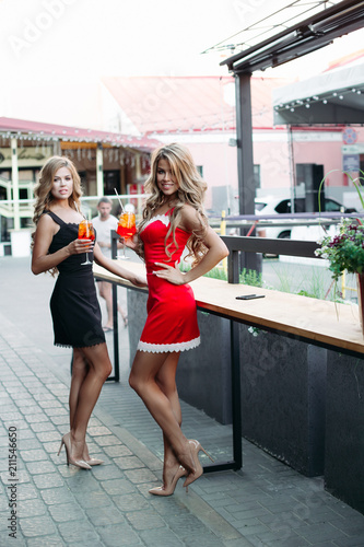 Two sexy girls in short dresses posing