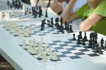 Children Play Chess Outdoors I...
