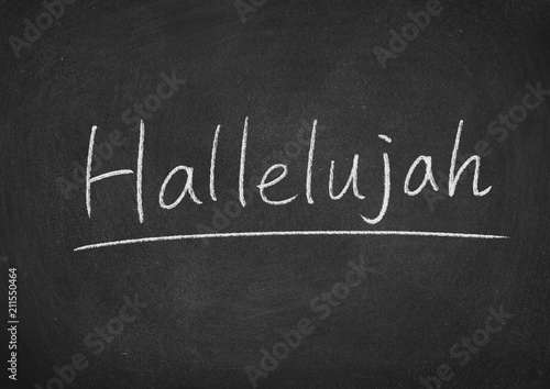 hallelujah concept word on a blackboard background Canvas Print