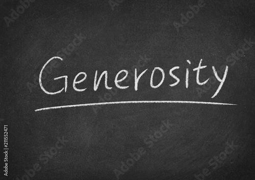 Photo generosity concept word on a blackboard background
