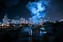 City Of Chicago Skyline With The River And A Full Moon At Night