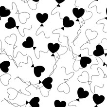 Black White Heart Balloon Pattern