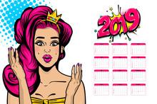 2019 Calendar, Wow Face Caucasian Young Sexy Girl In Crown Pop Art. Princess Pink Hair Woman Pop Art. Comic Text Advertise Speech Bubble. Halftone Background.