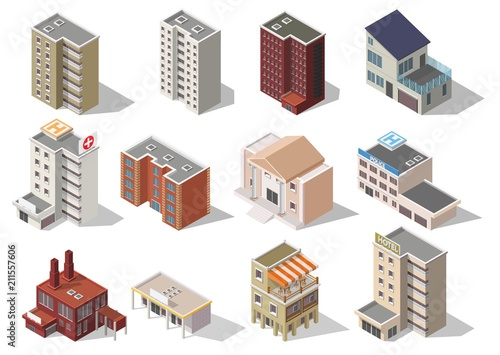 Fotografía  Big set low poly vectors of isometric illustration city street house facades, factory, cafe, school, hospital
