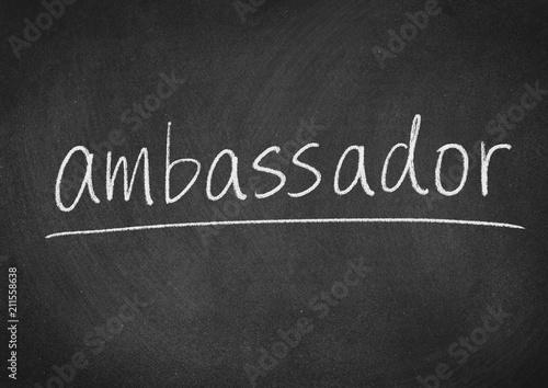 Photo ambassador concept word on a blackboard background
