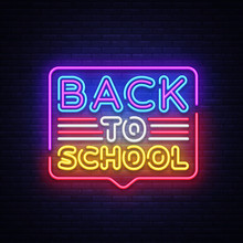 Back To School Greeting Card Design Template Neon Vector. Modern Trend Design, The Beginning Of The School Year Neon Sign, Light Banner. Back To School For Greeting Card, Invitation Poster. Vector