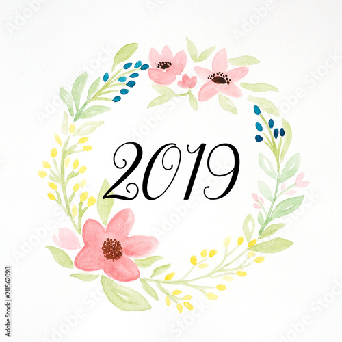 2019 happy new year on colorful watercolor flower wreath on white background new year greeting
