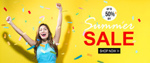 Summer Sale With Happy Woman W...