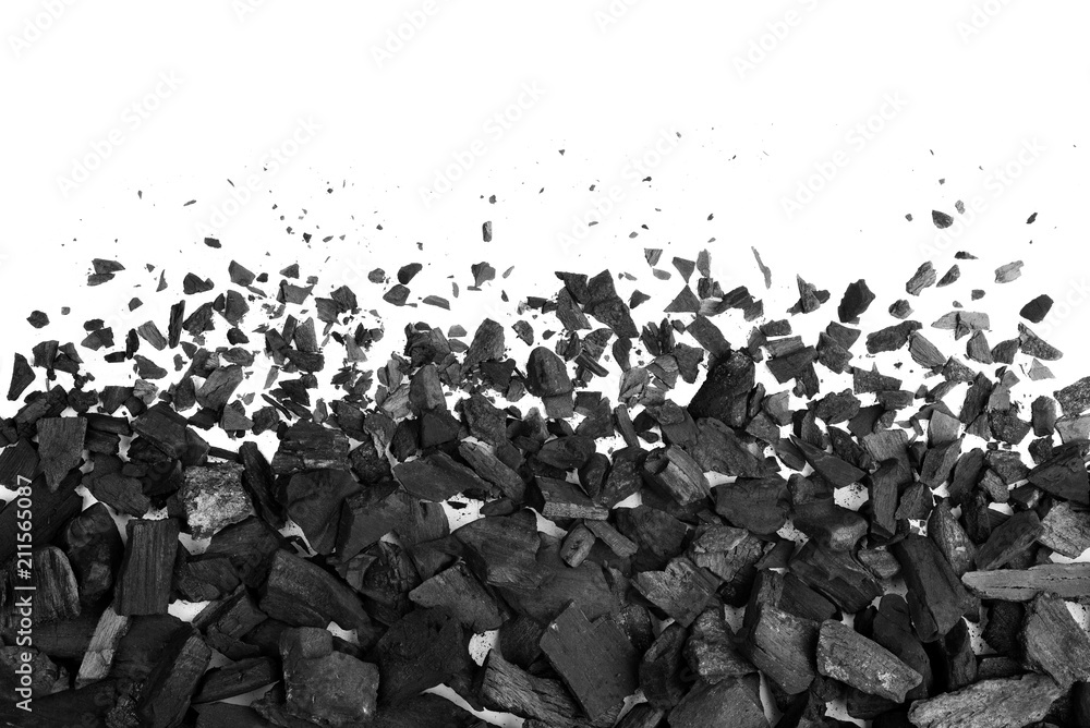 Fototapeta Charcoal or coal carbon texture hi resolution isolated on white background