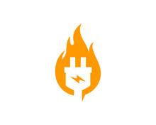 Fire Electric Logo Icon Design Element