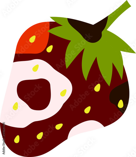 Valokuva Rotten strawberry illustration