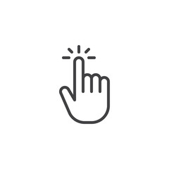 Click hand outline icon. linear style sign for mobile concept and web design. Touching finger simple line vector icon. Symbol, logo illustration. Pixel perfect vector graphics