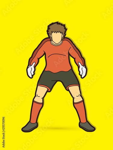 Aluminium Prints Superheroes Goalkeeper action,prepare catches the ball graphic vector.