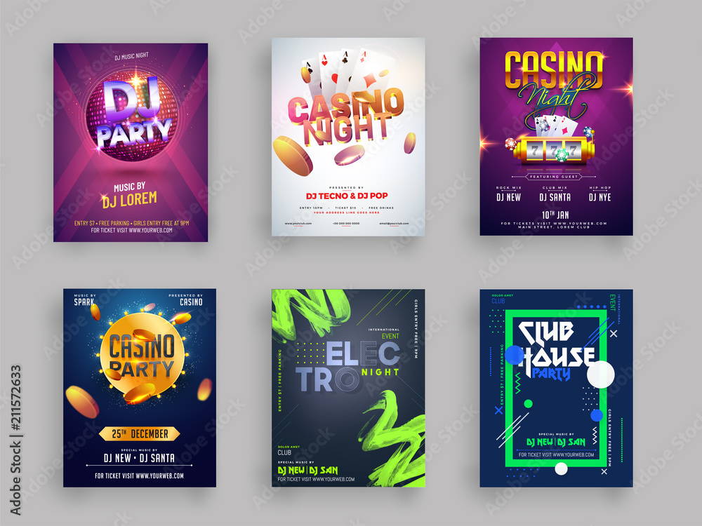Fototapeta Casino, DJ and Musical Party flyer or template collection in six different styles.