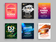 Collection Of Six Summer Party Flyer Or Banner Design With Time And Venue Details.