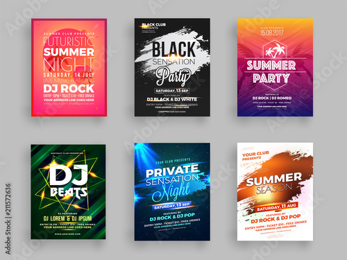 Fotografia Collection of six Summer party flyer or banner design with time and venue details
