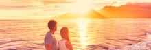 Hawaii Holiday Cruise Ship Tourists Couple Watching Sunset On Honeymoon Travel Vacation. Banner Panoramic View Of Kauai Island.