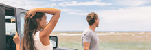 Road Trip Young People Driving Jeep Car On Summer Adventure Travel Discovery. Asian Woman And Man Looking At Beach Landscape Background, Banner Panorama.