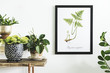 canvas print picture - Stylish and modern scandinavian room with wooden console, mock up poster frame and beautiful plants. Design composition of home interior.