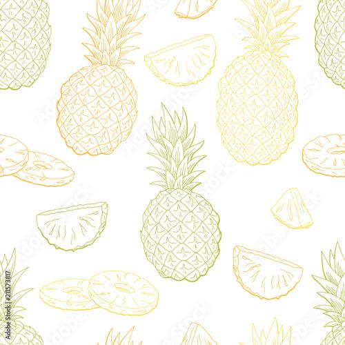 Ananasowego owocowego graficznego koloru tła nakreślenia ilustraci bezszwowy deseniowy wektor