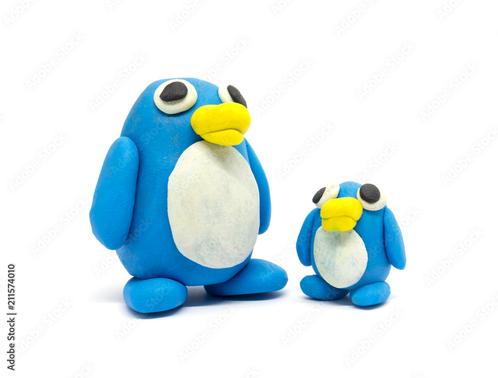 Play dough Penguin father and son on white background