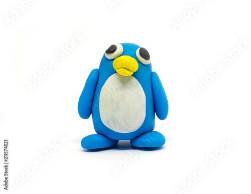 Play dough penguin on white background