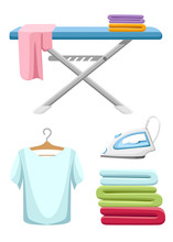 Laundry Room Icon Collection. Blue Ironing Board, White Iron, Pile Of Towels And Ironed T-shirt. Flat Cartoon Illustration Isolated On White Background