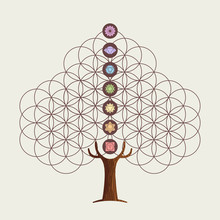 Flower Of Life Concept Tree Wi...