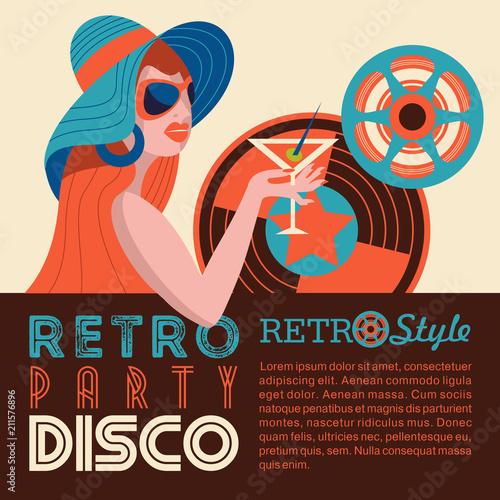 Plakaty do antyram, ramek lub samoprzylepne retro-disco-party-colorful-vector-illustration-poster
