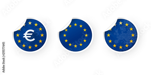 Foto  European Union, EURO, EU icons stickers set