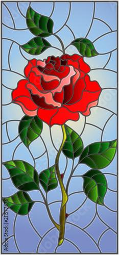 ilustracja-w-witrazu-stylu-kwiat-czerwieni-roza-na-nieba-tle