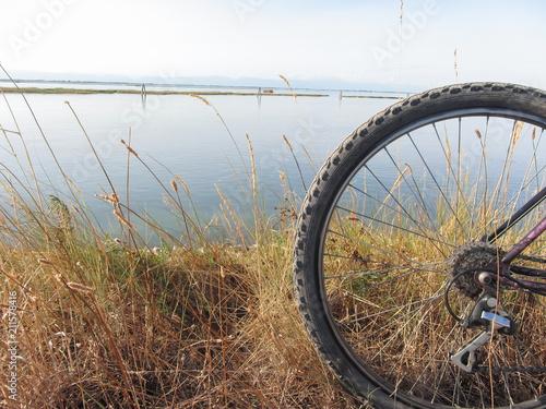 cycling in sunny day in the lagoon of Venice Obraz na płótnie